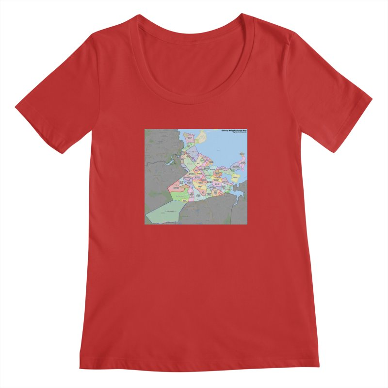 Quincy Neighborhood Map Women's Regular Scoop Neck by The United States Vampire Service Shop