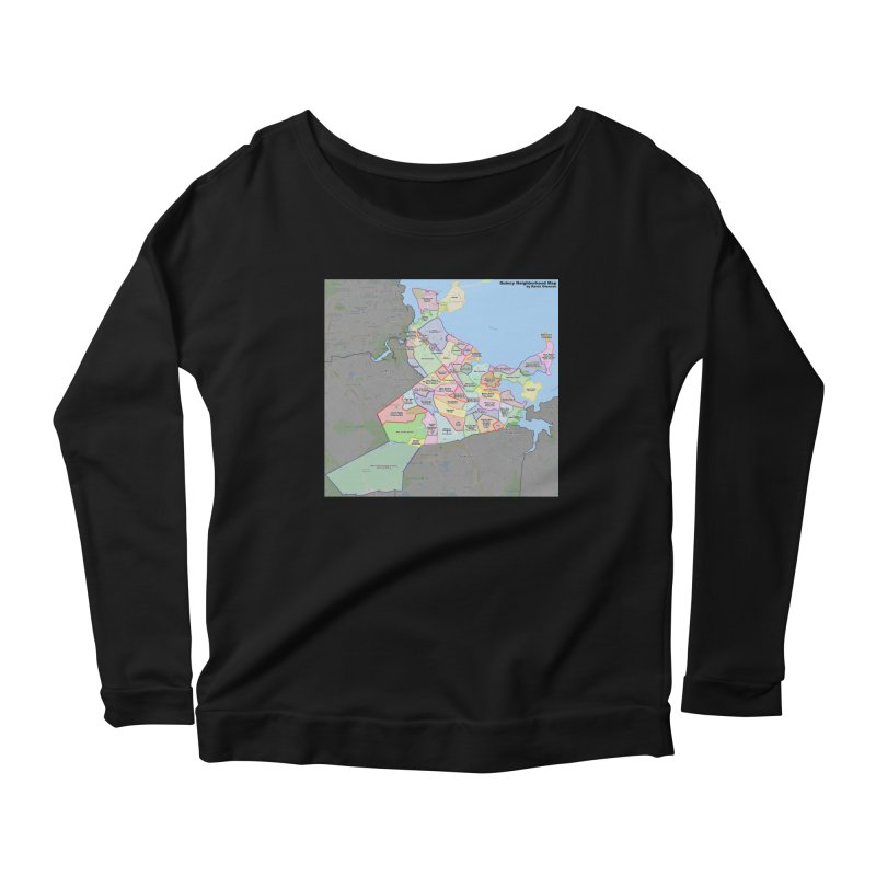 Quincy Neighborhood Map Women's Scoop Neck Longsleeve T-Shirt by The United States Vampire Service Shop