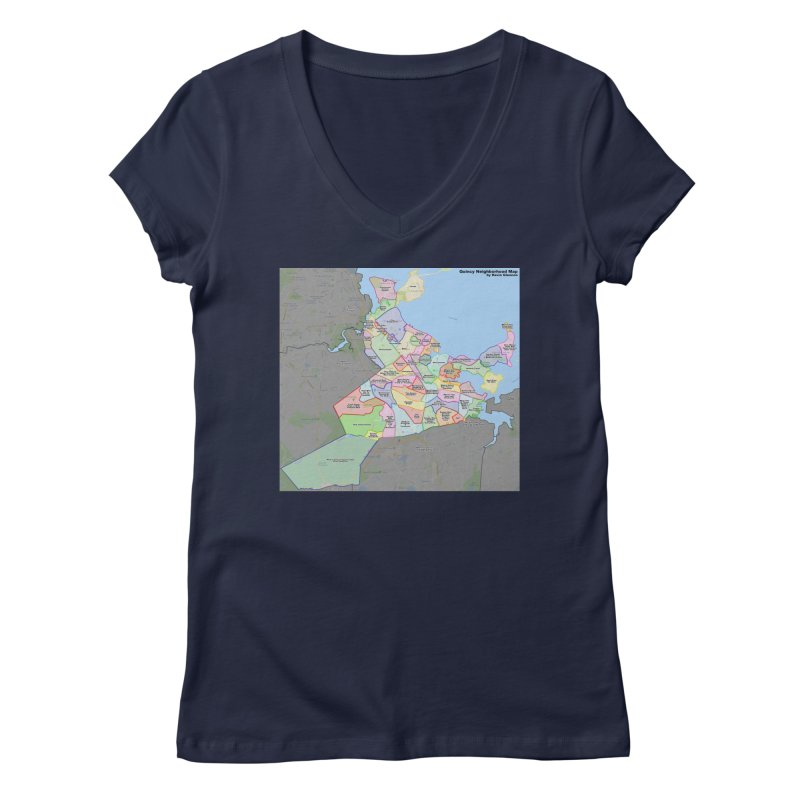 Quincy Neighborhood Map Women's Regular V-Neck by The United States Vampire Service Shop