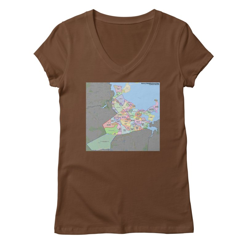 Quincy Neighborhood Map Women's V-Neck by The United States Vampire Service Shop