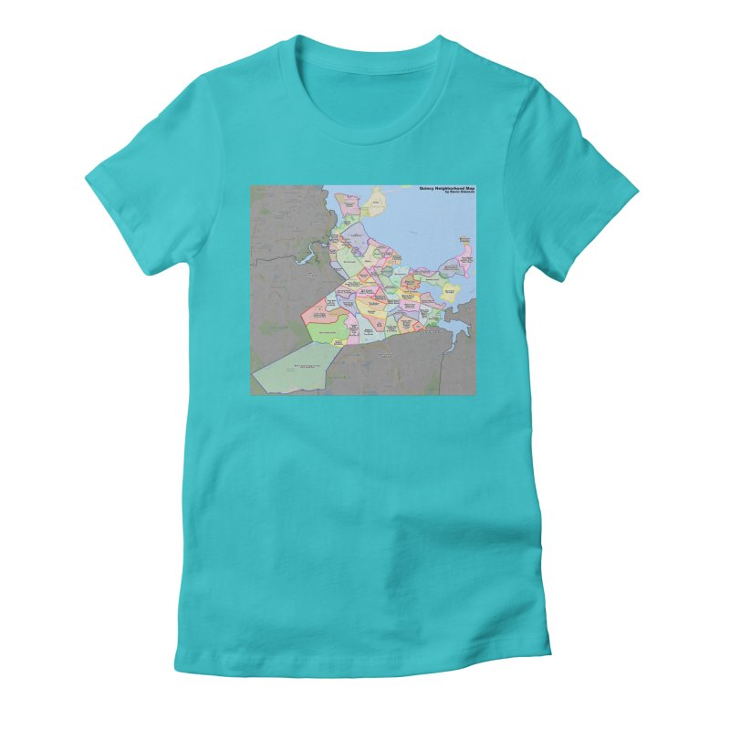 Quincy Neighborhood Map Women's Fitted T-Shirt by The United States Vampire Service Shop