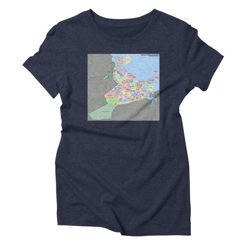 Quincy Neighborhood Map Women's Triblend T-Shirt by The United States Vampire Service Shop