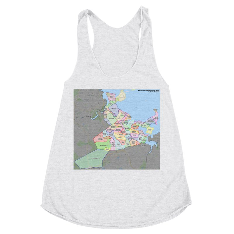 Quincy Neighborhood Map Women's Racerback Triblend Tank by The United States Vampire Service Shop