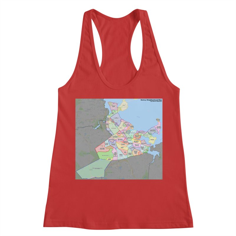 Quincy Neighborhood Map Women's Racerback Tank by The United States Vampire Service Shop
