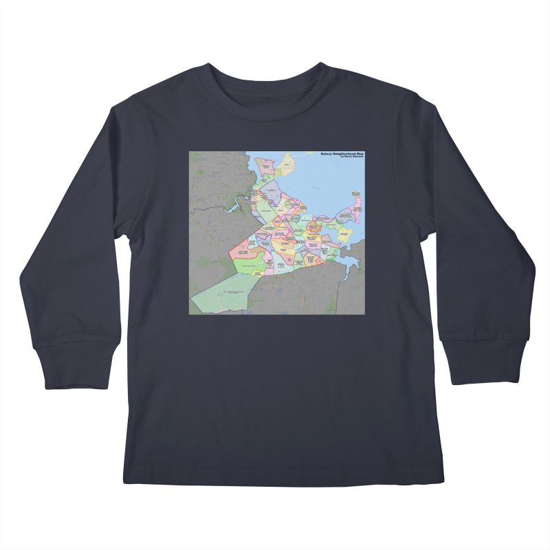 Quincy Neighborhood Map Kids Longsleeve T-Shirt by The United States Vampire Service Shop