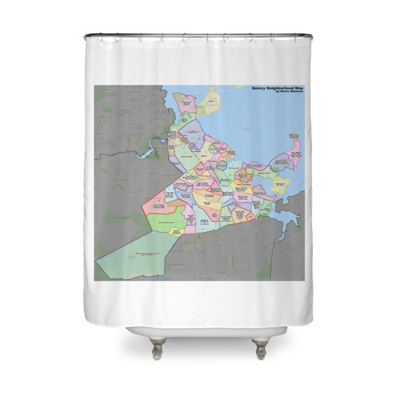 Quincy Neighborhood Map Home Shower Curtain by The United States Vampire Service Shop