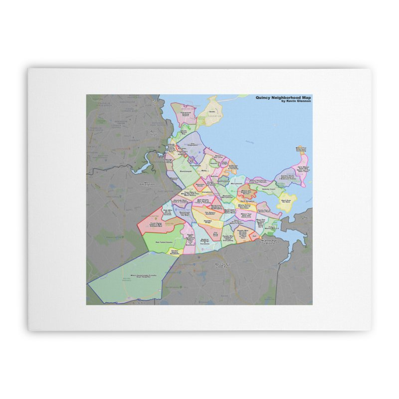 Quincy Neighborhood Map Home Stretched Canvas by The United States Vampire Service Shop