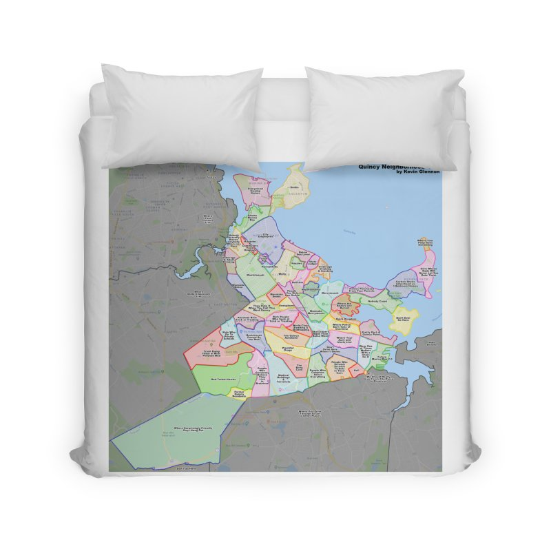 Quincy Neighborhood Map Home Duvet by The United States Vampire Service Shop