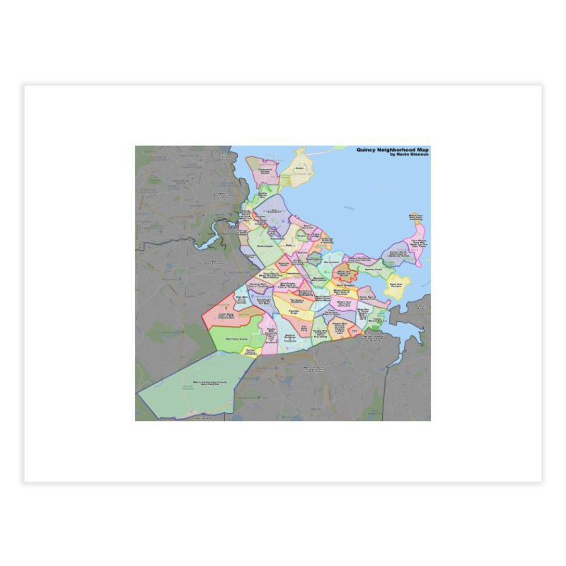 Quincy Neighborhood Map Home Fine Art Print by The United States Vampire Service Shop