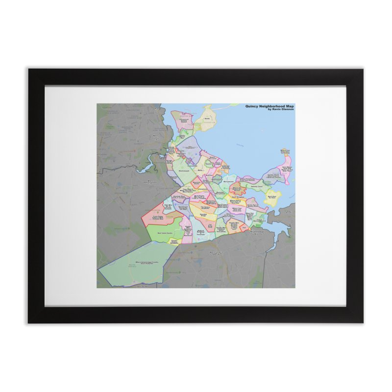 Quincy Neighborhood Map Home Framed Fine Art Print by The United States Vampire Service Shop