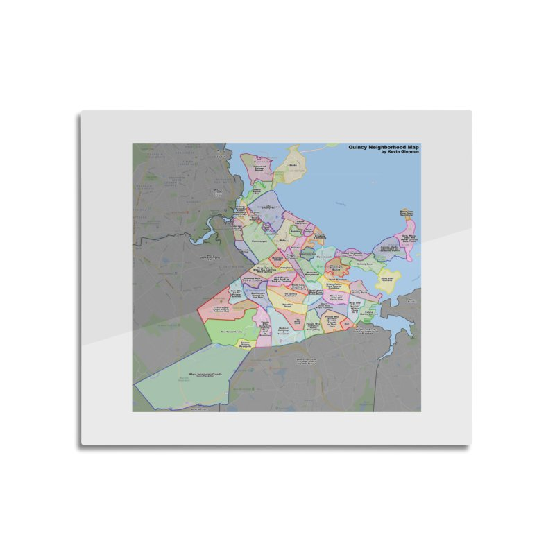 Quincy Neighborhood Map Home Mounted Aluminum Print by The United States Vampire Service Shop