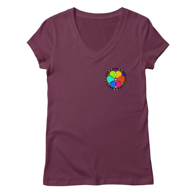 UGOVI - Heart Position - Transparent in Women's Regular V-Neck Dark Red by Ugovi Artist Shop