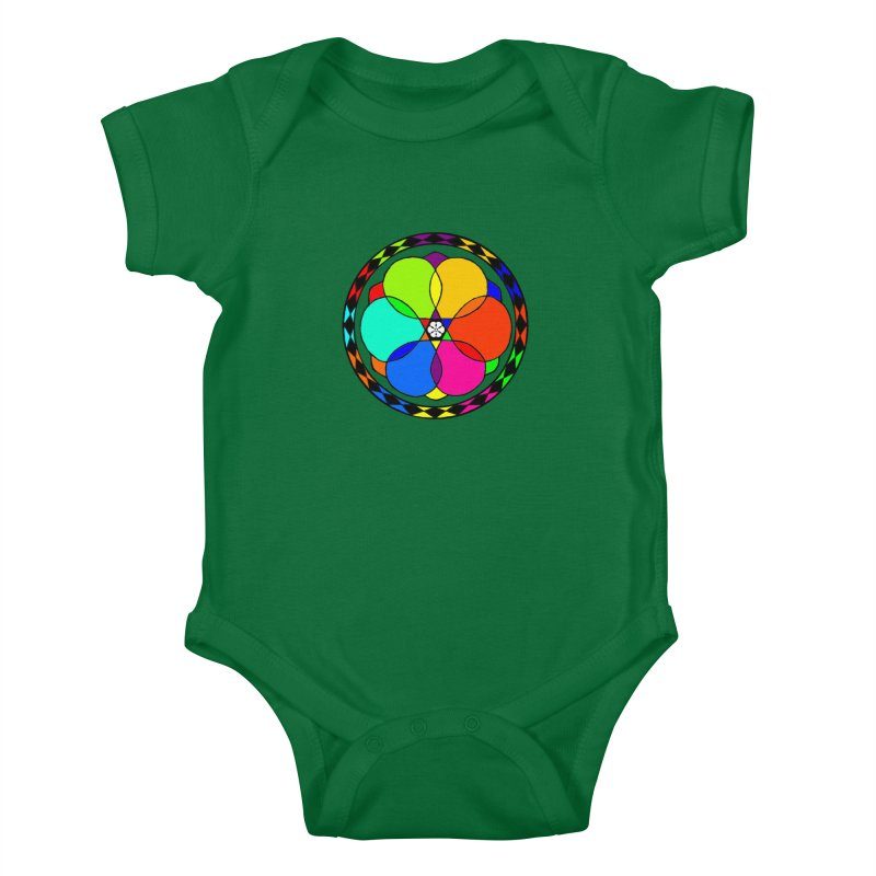 UGOVI - Center Chest - Transparent in Kids Baby Bodysuit Kelly Green by Ugovi Artist Shop