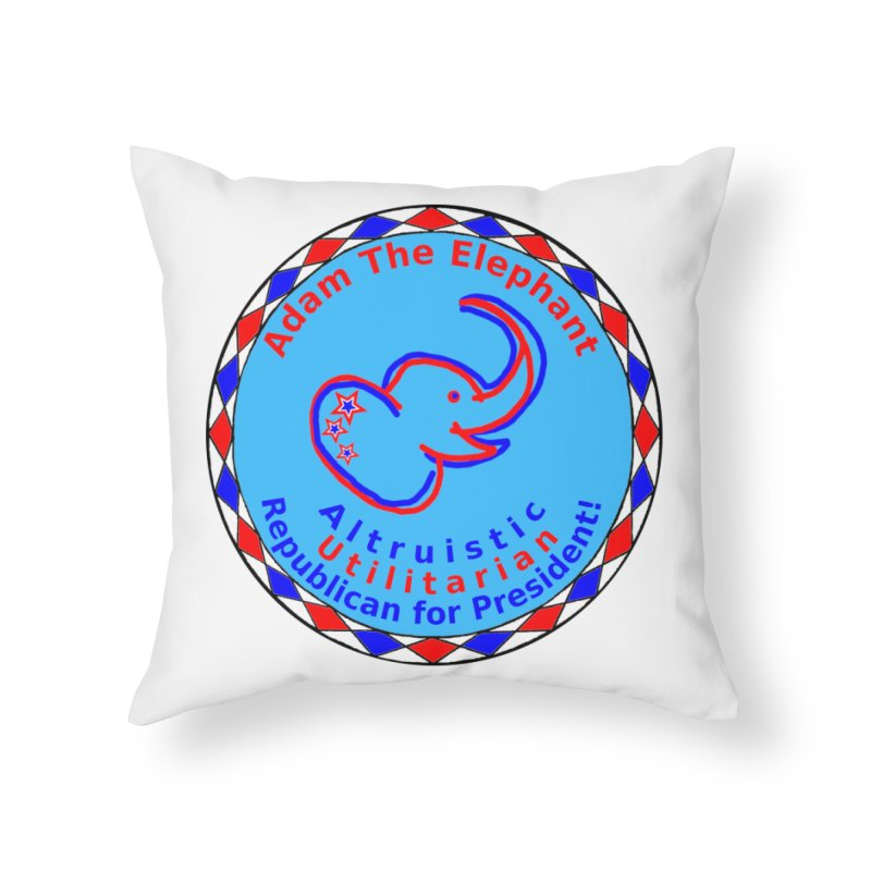 Adam The Elephant - Heart position - Altruistic Utilitarian Republican for President Home Throw Pillow by Ugovi Artist Shop