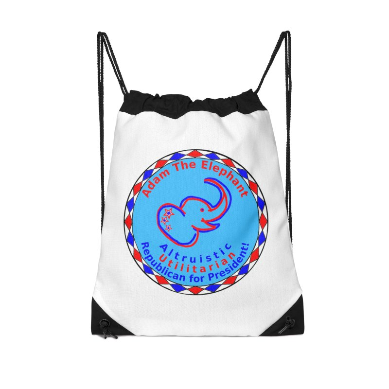 Adam The Elephant - Heart position - Altruistic Utilitarian Republican for President Accessories Drawstring Bag Bag by Ugovi Artist Shop