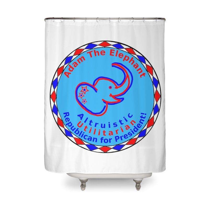 Adam The Elephant - Heart position - Altruistic Utilitarian Republican for President Home Shower Curtain by Ugovi Artist Shop