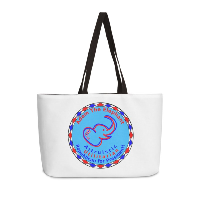 Adam The Elephant - Heart position - Altruistic Utilitarian Republican for President Accessories Weekender Bag Bag by Ugovi Artist Shop
