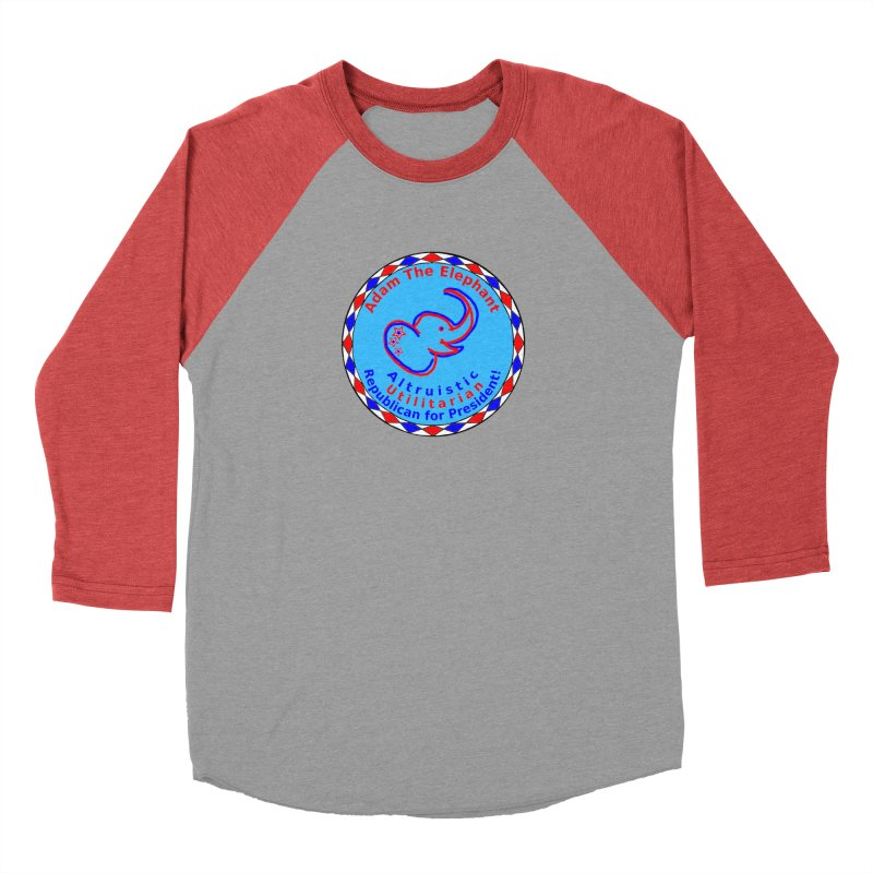 Adam The Elephant - Center Chest - Altruistic Utilitarian Republican For President in Men's Baseball Triblend Longsleeve T-Shirt Chili Red Sleeves by Ugovi Artist Shop