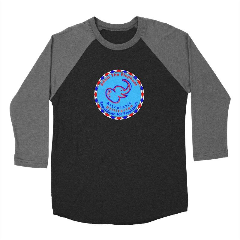 Adam The Elephant - Center Chest - Altruistic Utilitarian Republican For President Men's Baseball Triblend Longsleeve T-Shirt by Ugovi Artist Shop