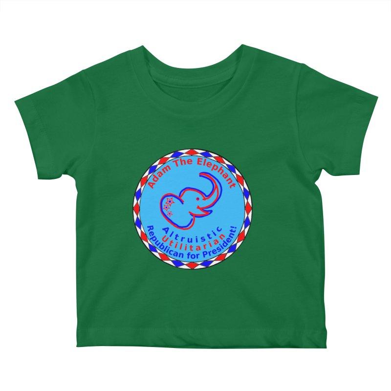Adam The Elephant - Center Chest - Altruistic Utilitarian Republican For President Kids Baby T-Shirt by Ugovi Artist Shop