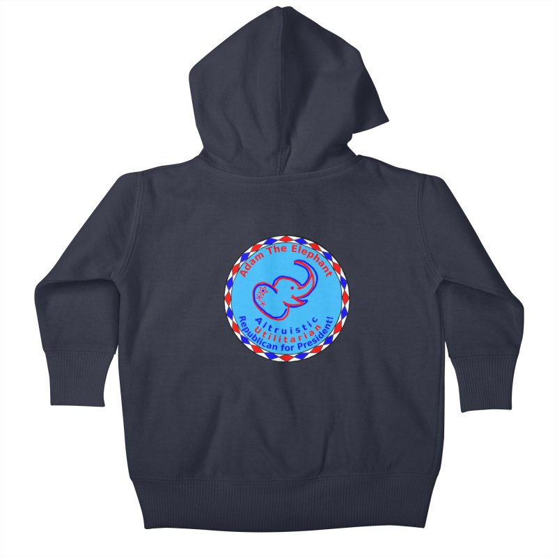 Adam The Elephant - Center Chest - Altruistic Utilitarian Republican For President Kids Baby Zip-Up Hoody by Ugovi Artist Shop