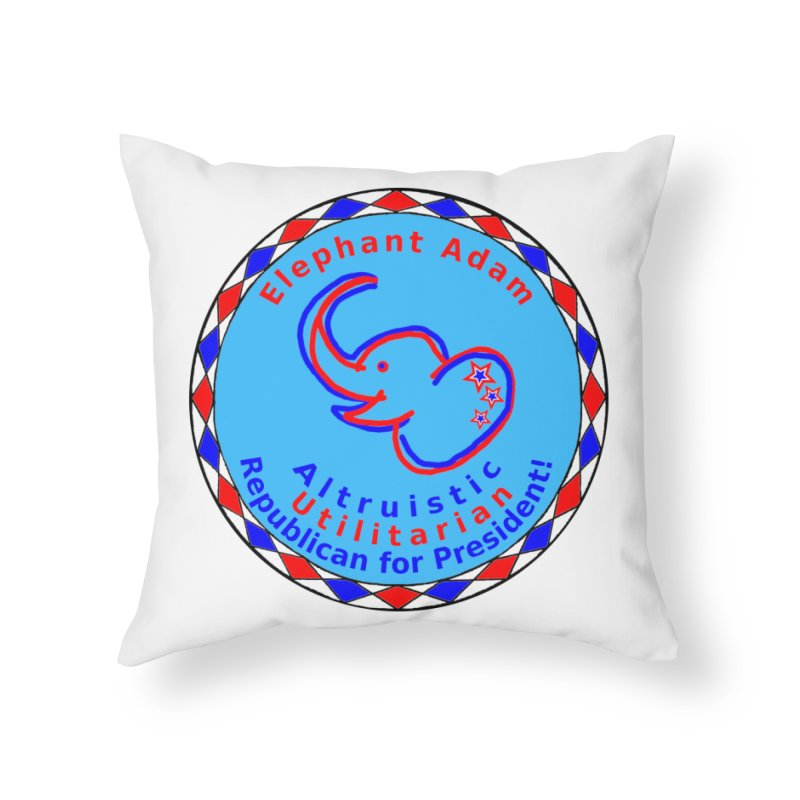 Elephant Adam - Heart Position - Altruistic Utilitarian Republican For President Home Throw Pillow by Ugovi Artist Shop