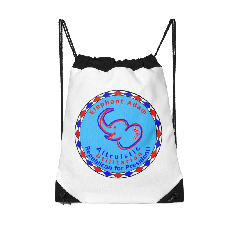 Elephant Adam - Heart Position - Altruistic Utilitarian Republican For President Accessories Drawstring Bag Bag by Ugovi Artist Shop