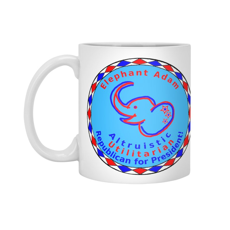 Elephant Adam - Heart Position - Altruistic Utilitarian Republican For President in Standard Mug White by Ugovi Artist Shop