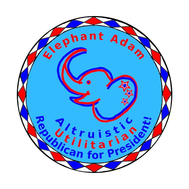 Elephant Adam - Chest Center - Altruistic Utilitarian Republican For President Men's Pullover Hoody by Ugovi Artist Shop
