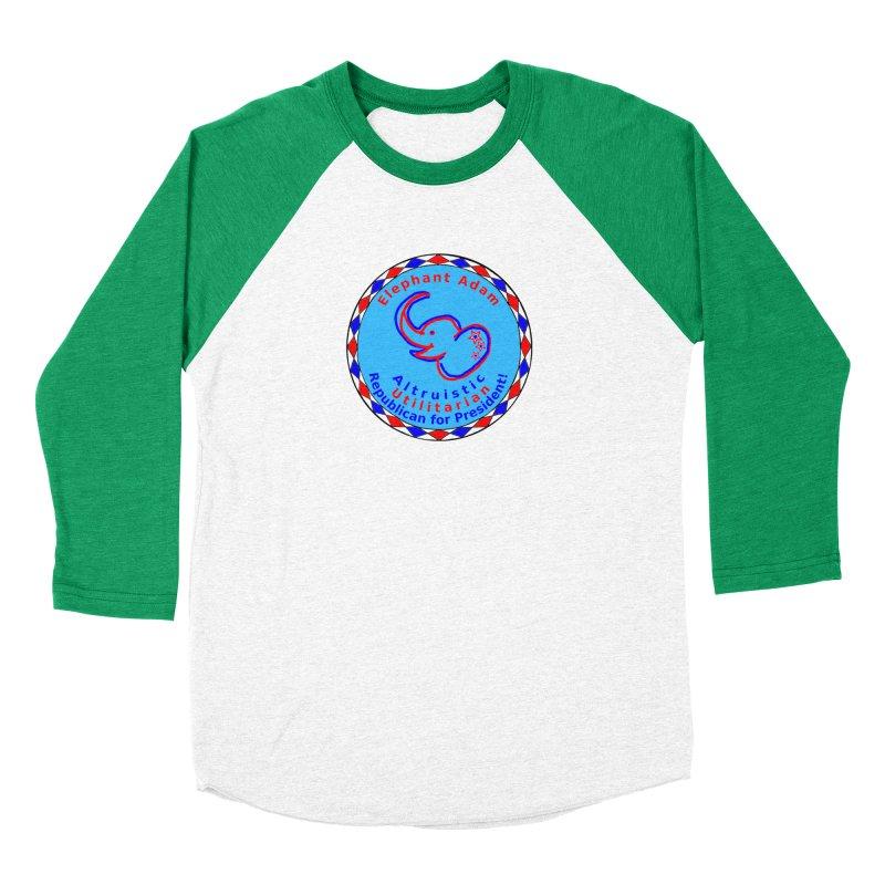 Elephant Adam - Chest Center - Altruistic Utilitarian Republican For President Men's Baseball Triblend Longsleeve T-Shirt by Ugovi Artist Shop