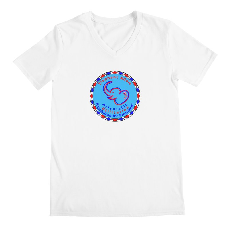 Elephant Adam - Chest Center - Altruistic Utilitarian Republican For President Men's Regular V-Neck by Ugovi Artist Shop