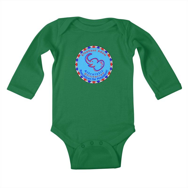 Elephant Adam - Chest Center - Altruistic Utilitarian Republican For President Kids Baby Longsleeve Bodysuit by Ugovi Artist Shop