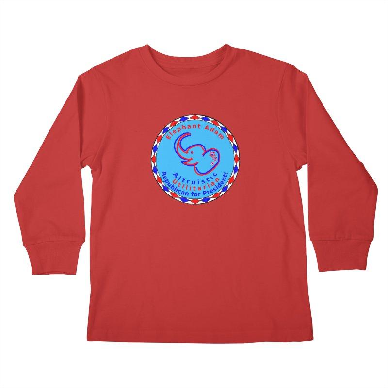 Elephant Adam - Chest Center - Altruistic Utilitarian Republican For President Kids Longsleeve T-Shirt by Ugovi Artist Shop