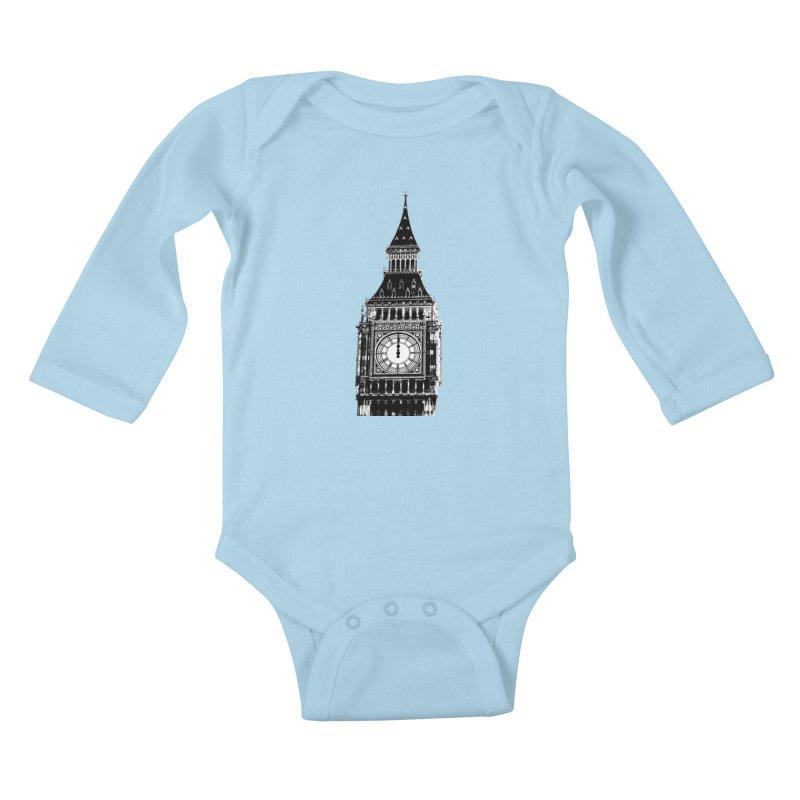 Big Ben Strikes Twelve Kids Baby Longsleeve Bodysuit by Ugovi Artist Shop