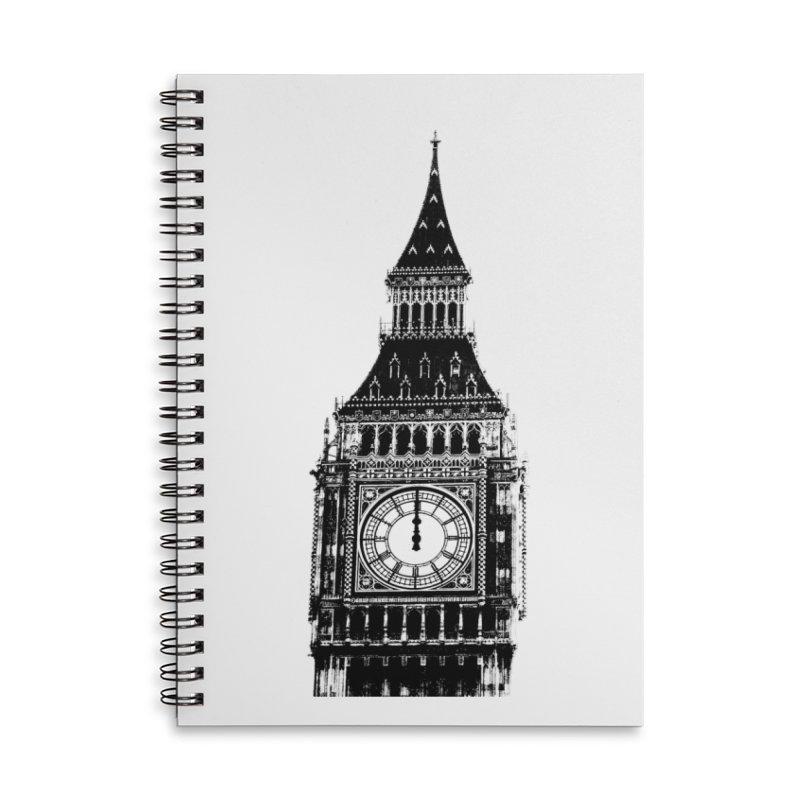 Big Ben Strikes Twelve Accessories Lined Spiral Notebook by Ugovi Artist Shop