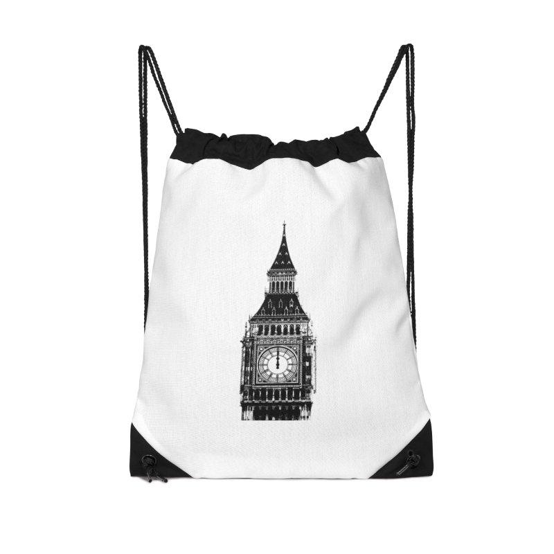 Big Ben Strikes Twelve Accessories Drawstring Bag Bag by Ugovi Artist Shop