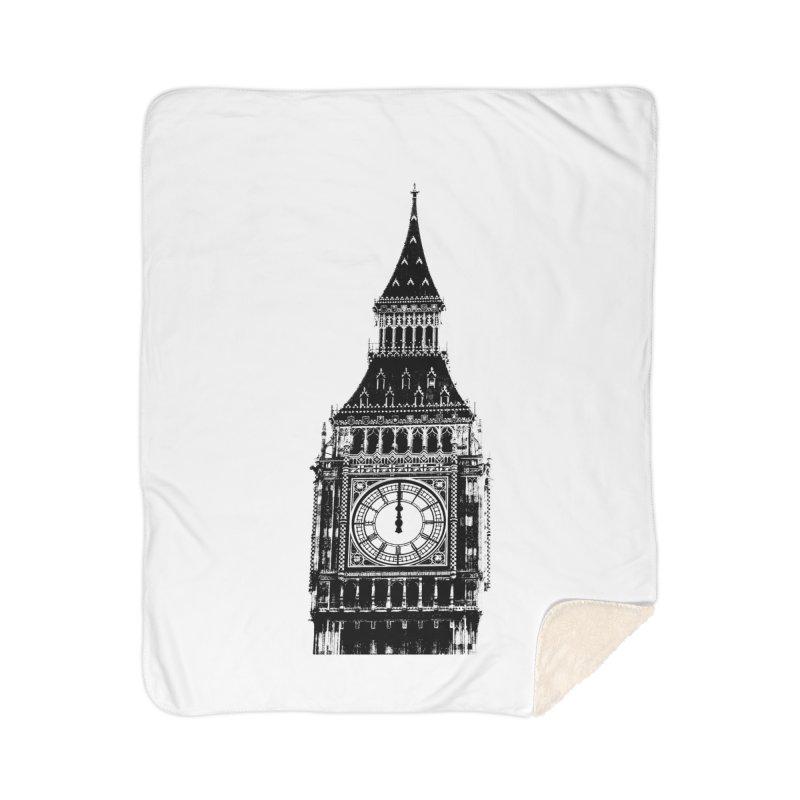 Big Ben Strikes Twelve Home Sherpa Blanket Blanket by Ugovi Artist Shop