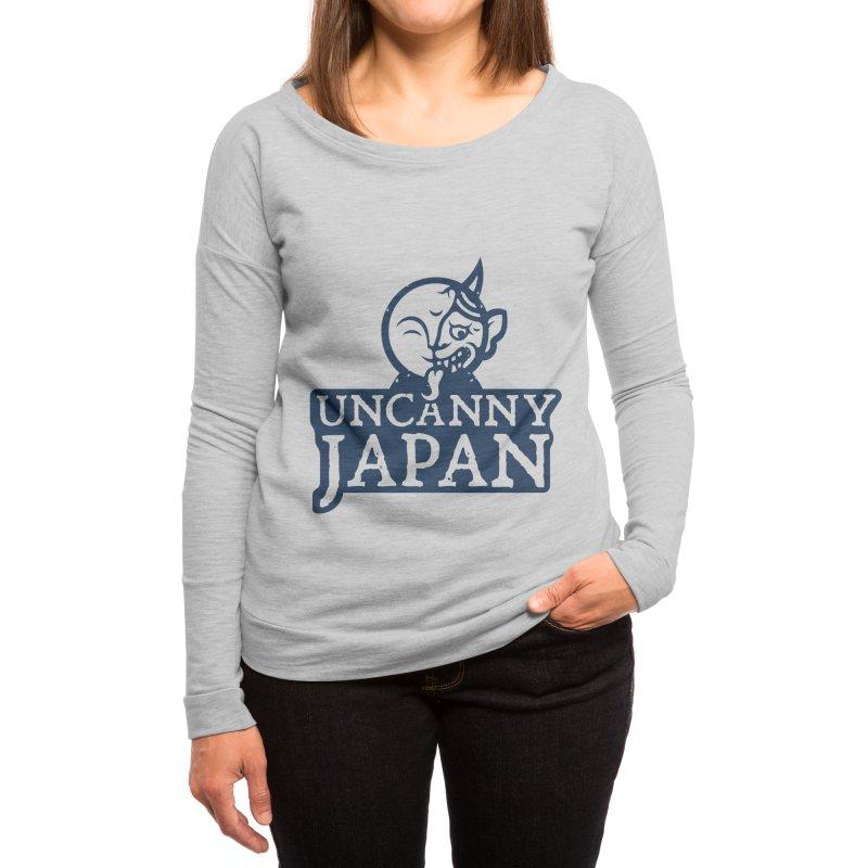 Uncanny Japan-text heavy-blue Women's Longsleeve T-Shirt by UncannyJapan's Artist Shop