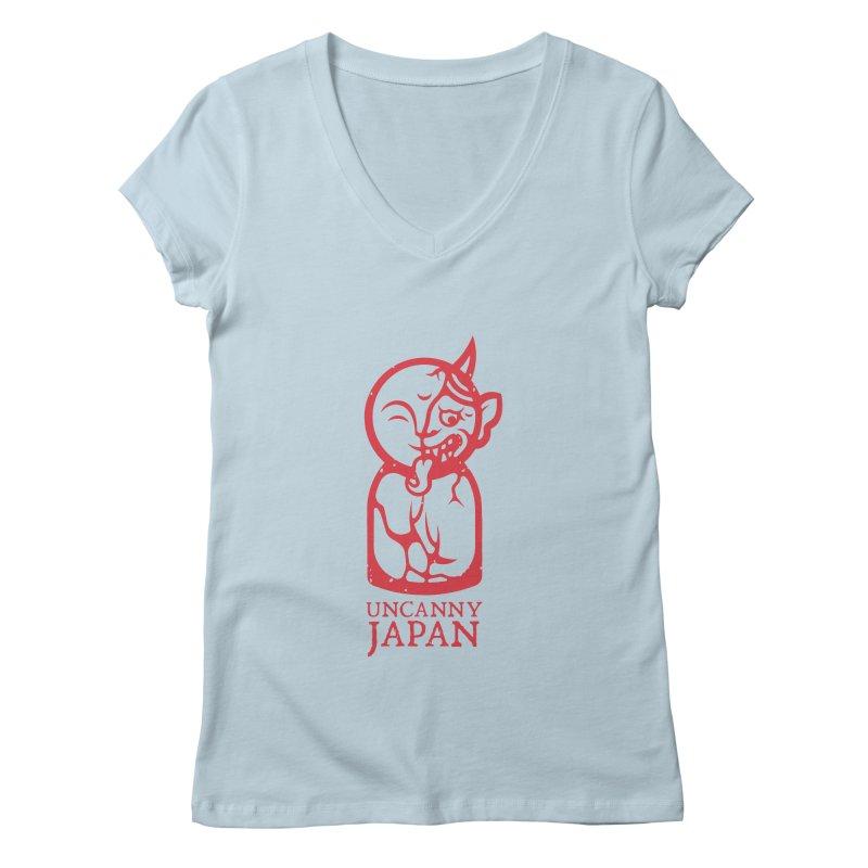 Uncanny Japan-vertical-red Women's V-Neck by UncannyJapan's Artist Shop