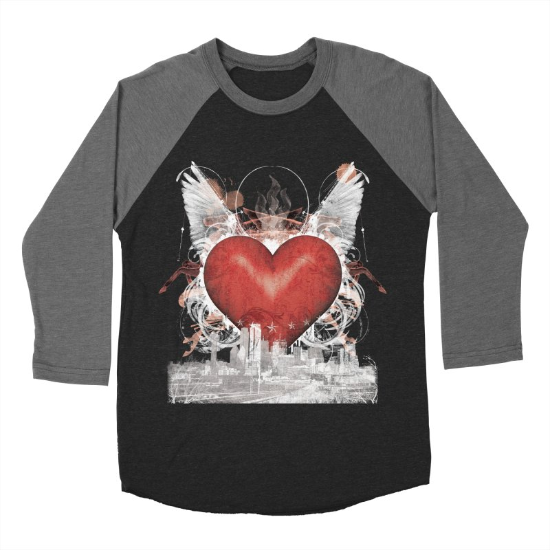 Big D Love in Women's Baseball Triblend Longsleeve T-Shirt Grey Triblend Sleeves by Dallas Merch by MarkRossStudio