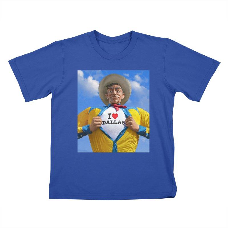 Big Tex - I Heart Dallas in Kids T-shirt Royal Blue by Dallas Merch by MarkRossStudio