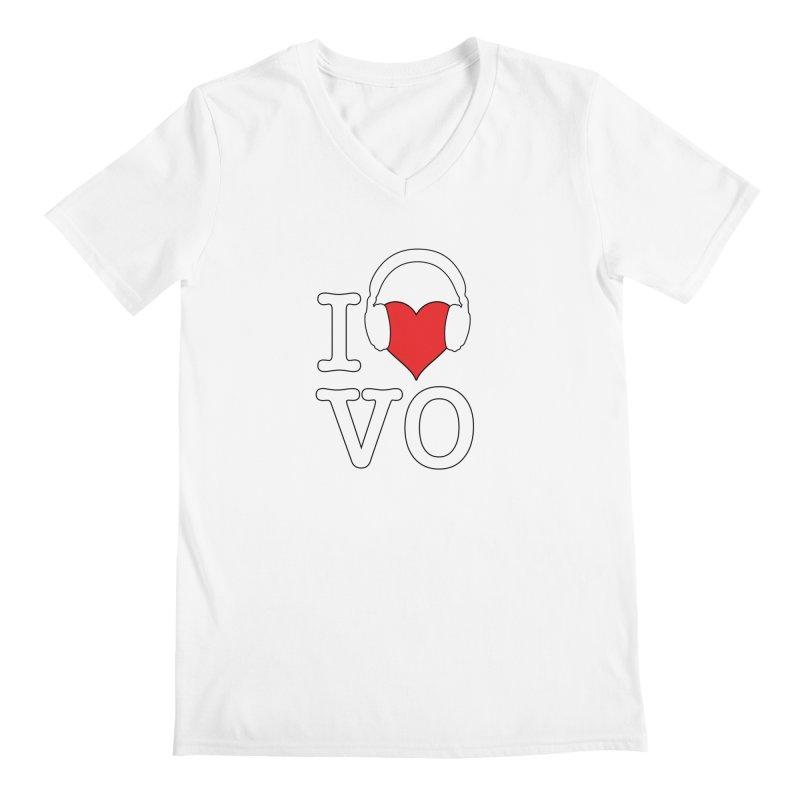 I Love VO Men's Regular V-Neck by VOriety Designs by VoiceOverDude