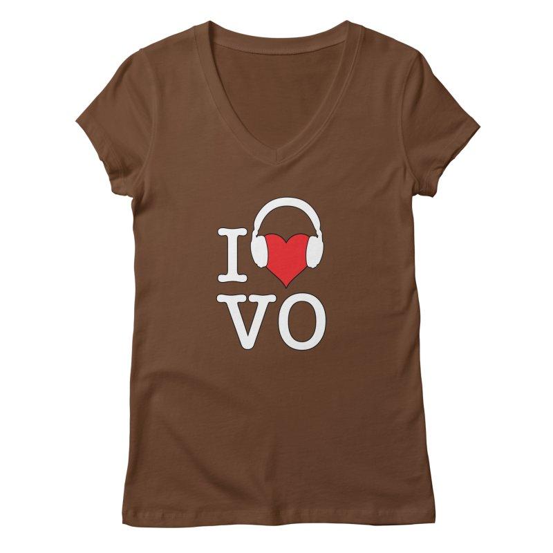 I Love VO Women's Regular V-Neck by VOriety Designs by VoiceOverDude