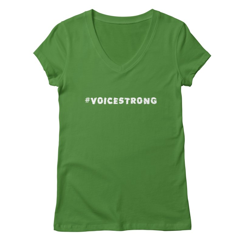 #VOICESTRONG - White Font Women's Regular V-Neck by VOriety Designs by VoiceOverDude