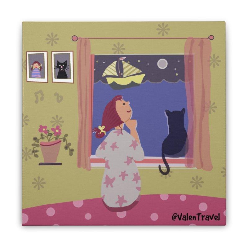 La ventana de los sueños. Paisajes para decorar tu hogar Home Stretched Canvas by Valentravel's Artist Shop