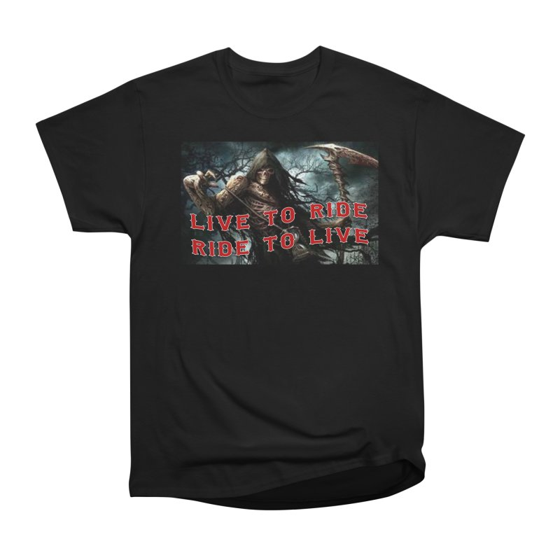 Live to Ride Reaper Men's Heavyweight T-Shirt by Vegans Choice Motorcycle Club