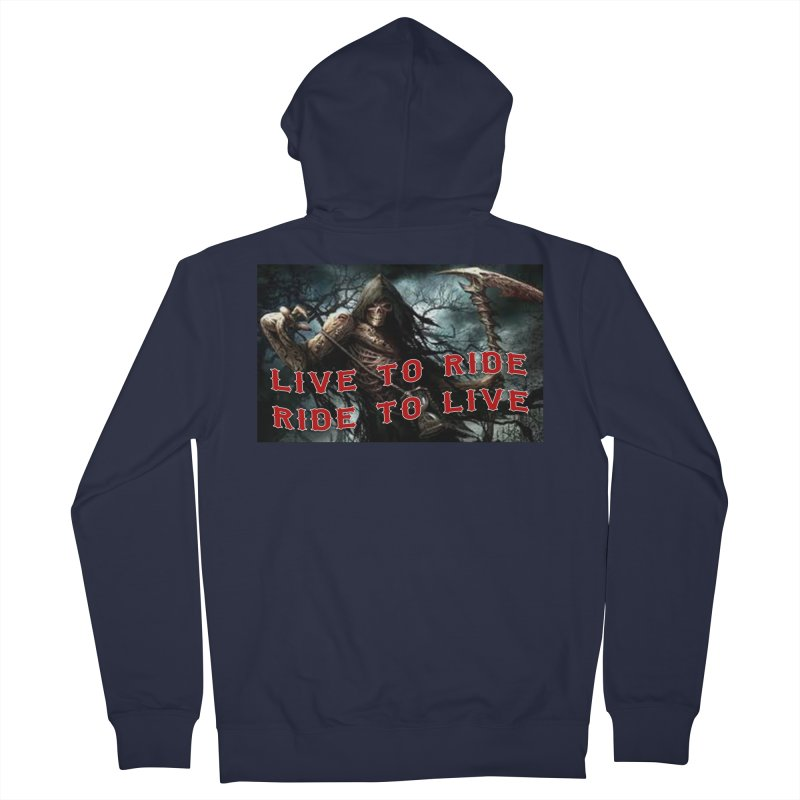 Live to Ride Reaper Women's French Terry Zip-Up Hoody by Vegans Choice Motorcycle Club