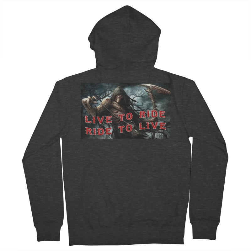 Live to Ride Reaper Men's French Terry Zip-Up Hoody by Vegans Choice Motorcycle Club