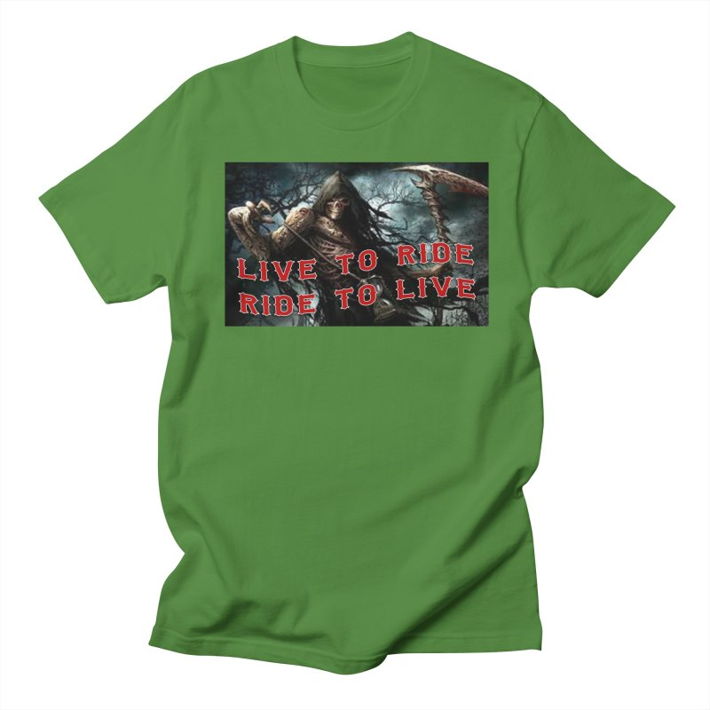Live to Ride Reaper Men's Regular T-Shirt by Vegans Choice Motorcycle Club