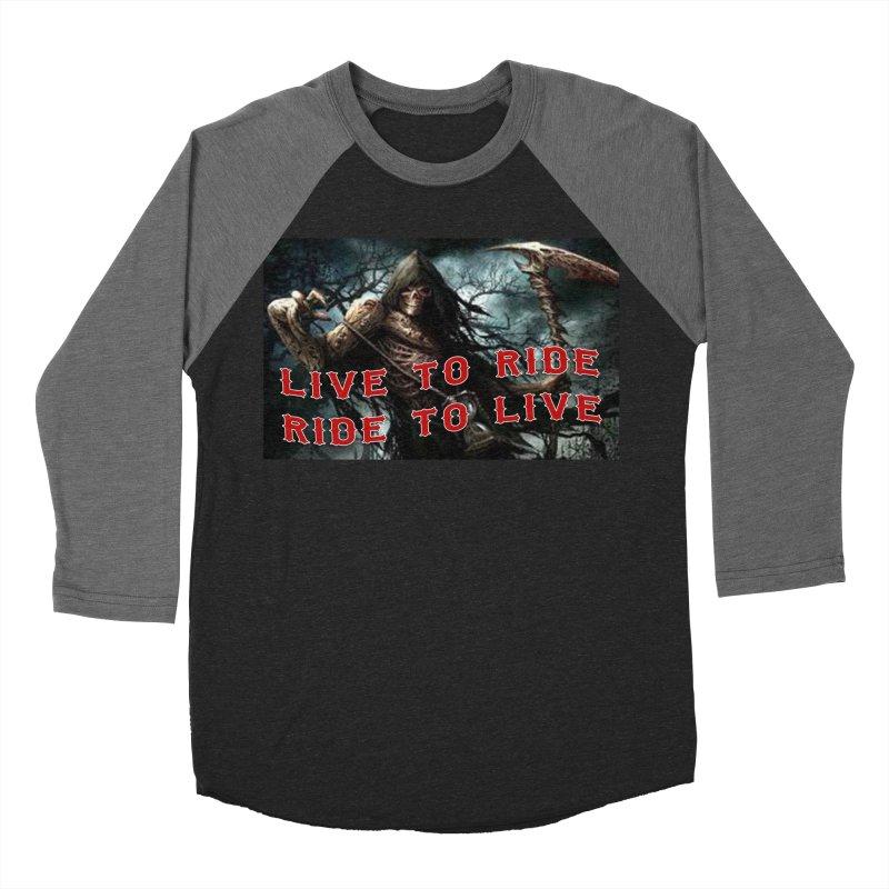 Live to Ride Reaper Women's Baseball Triblend Longsleeve T-Shirt by Vegans Choice Motorcycle Club